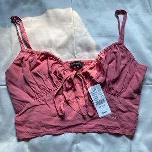 Pink Tie Front Cami Tank Top